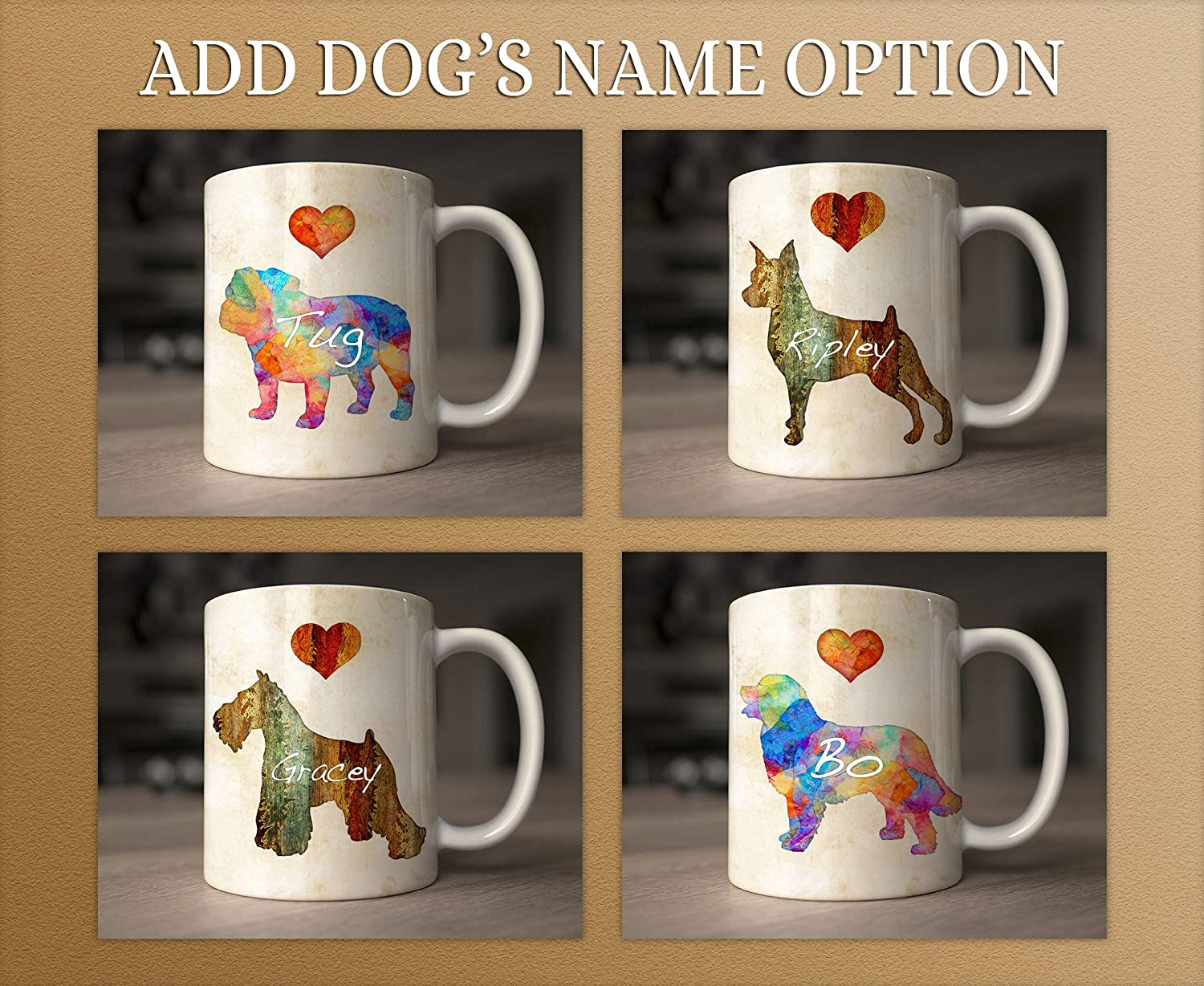 Pitbull Terrier Dog Breed Mug by Dan Morris Personalize with Dog Name