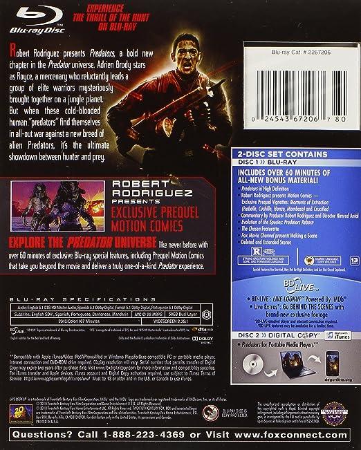 Amazon.com: Predators (Blu-ray + Digital Copy): Adrien Brody ...