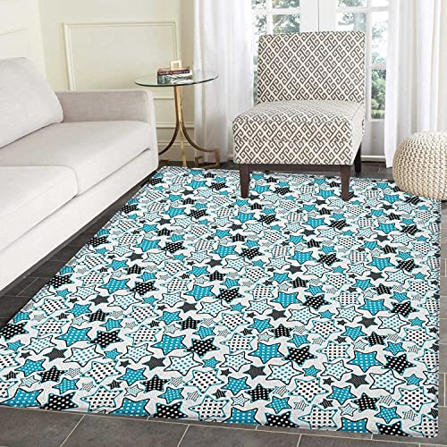 Star Anti-Skid Area Rug Polka Dotted Pattern on Five Pointed Stars Cartoon Style Geometric Illustration Door Mat Increase 5 x6 Blue Black White