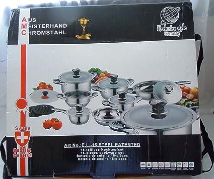 16 piezas de calidad SUPERIOR AUS MEISTERHAND CHROMSTAHL exclusivo estilo alemán de cocina regulado termo