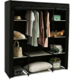 """Homebi Clothes Closet Portable Wardrobe Durable Clothes Storage Organizer Non-Woven Fabric Cloth Storage Shelf with Hanging Rod and 10 Shelves for Extra Storage, 59.05"""" W x 17.72"""" D x 65.4"""" H (Black)"""