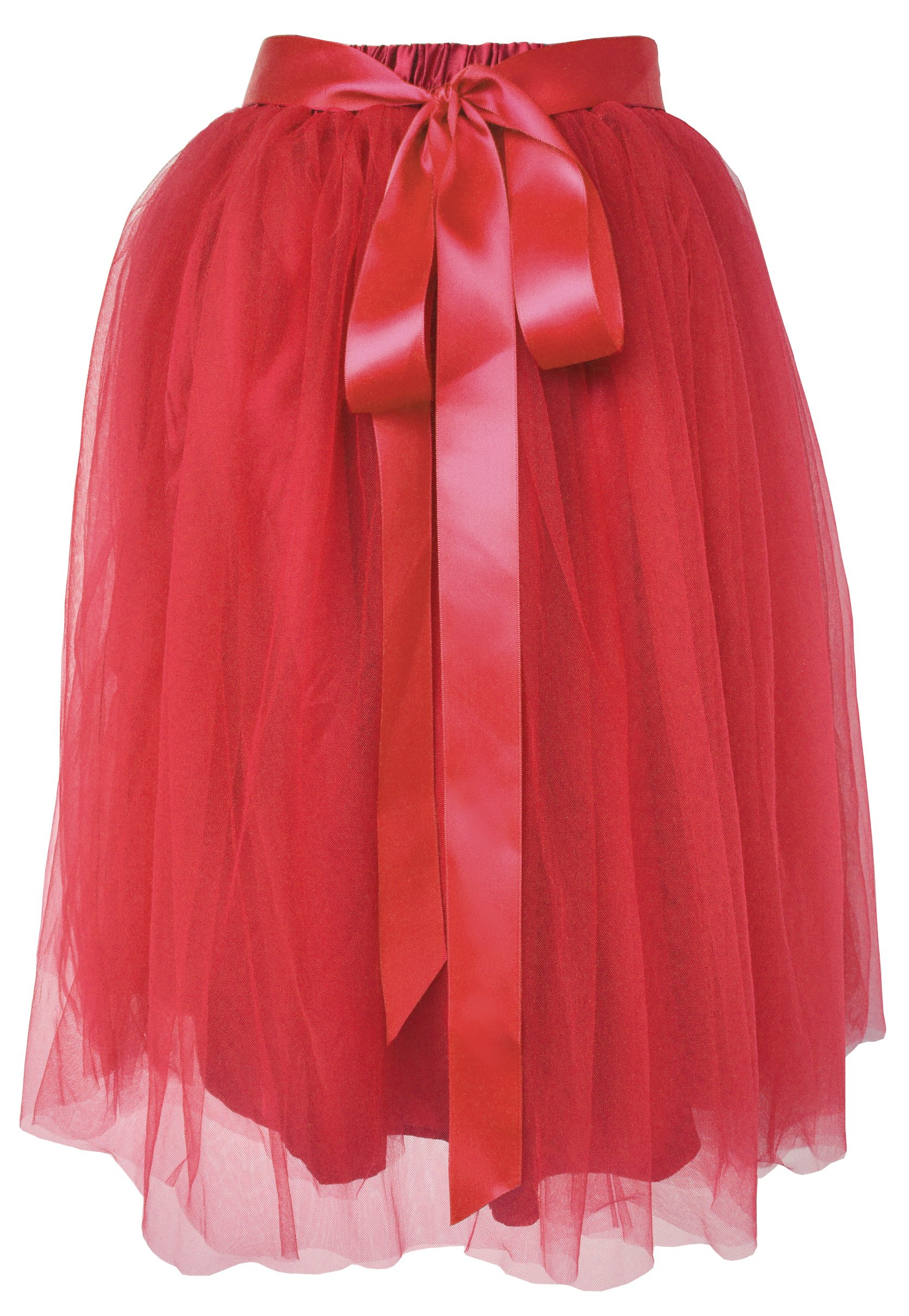 Dancina Women's Knee Length Tutu A Line Layered Tulle Skirt Red Plus (Size 12-24)