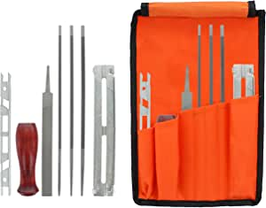 """Drixet Chainsaw Sharpening & Filing Kit – Includes: 5/32"""", 3/16"""" & 7/32 Inch Round Files, Flat File, Depth Gauge, Filing Guide, Handle, Tool Pouch, Combo 8-Piece Pack with Instructions"""
