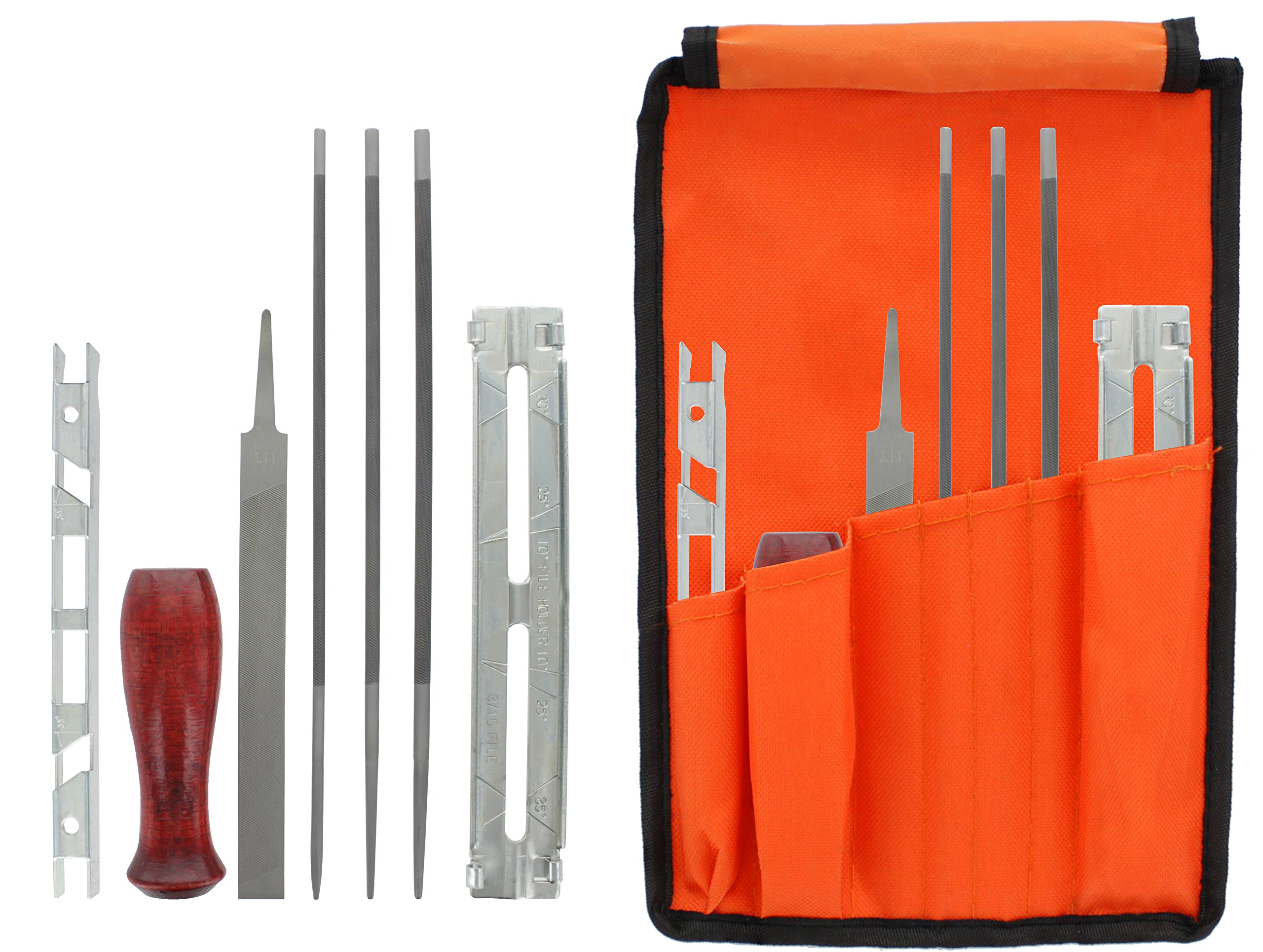 Drixet Chainsaw Sharpening & Filing Kit – Includes: 5/32'', 3/16'' & 7/32 Inch Round Files, Flat File, Depth Gauge, Filing Guide, Handle, Tool Pouch, Combo 8-Piece Pack with Instructions