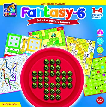 TOYZTREND Fantasy-6 Game. Family Fun Game with 5 Boards in ONE Pack and ONE BRAINVITA