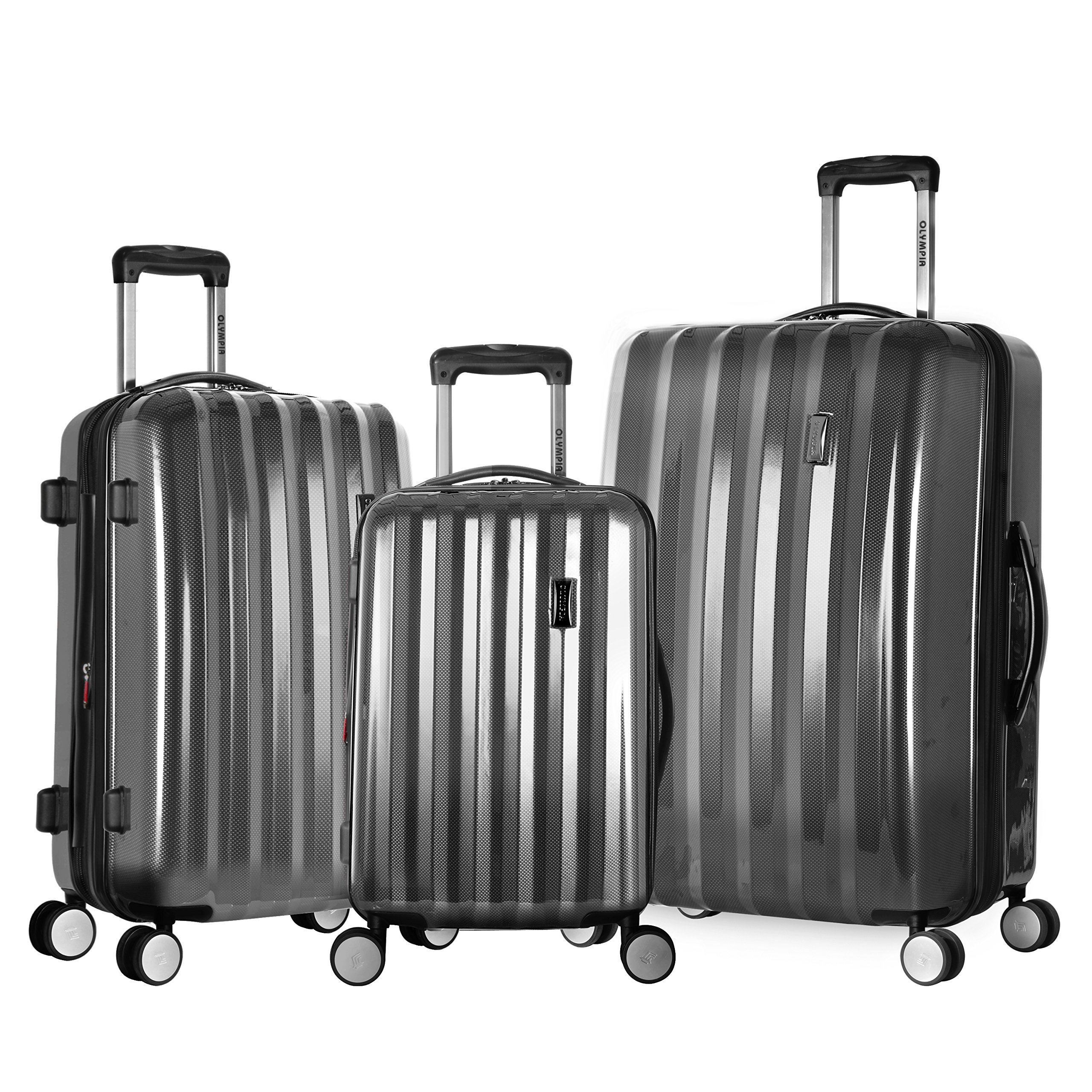 Olympia Luggage Titan 3 Piece Spinner Hardside Set, Black, One Size