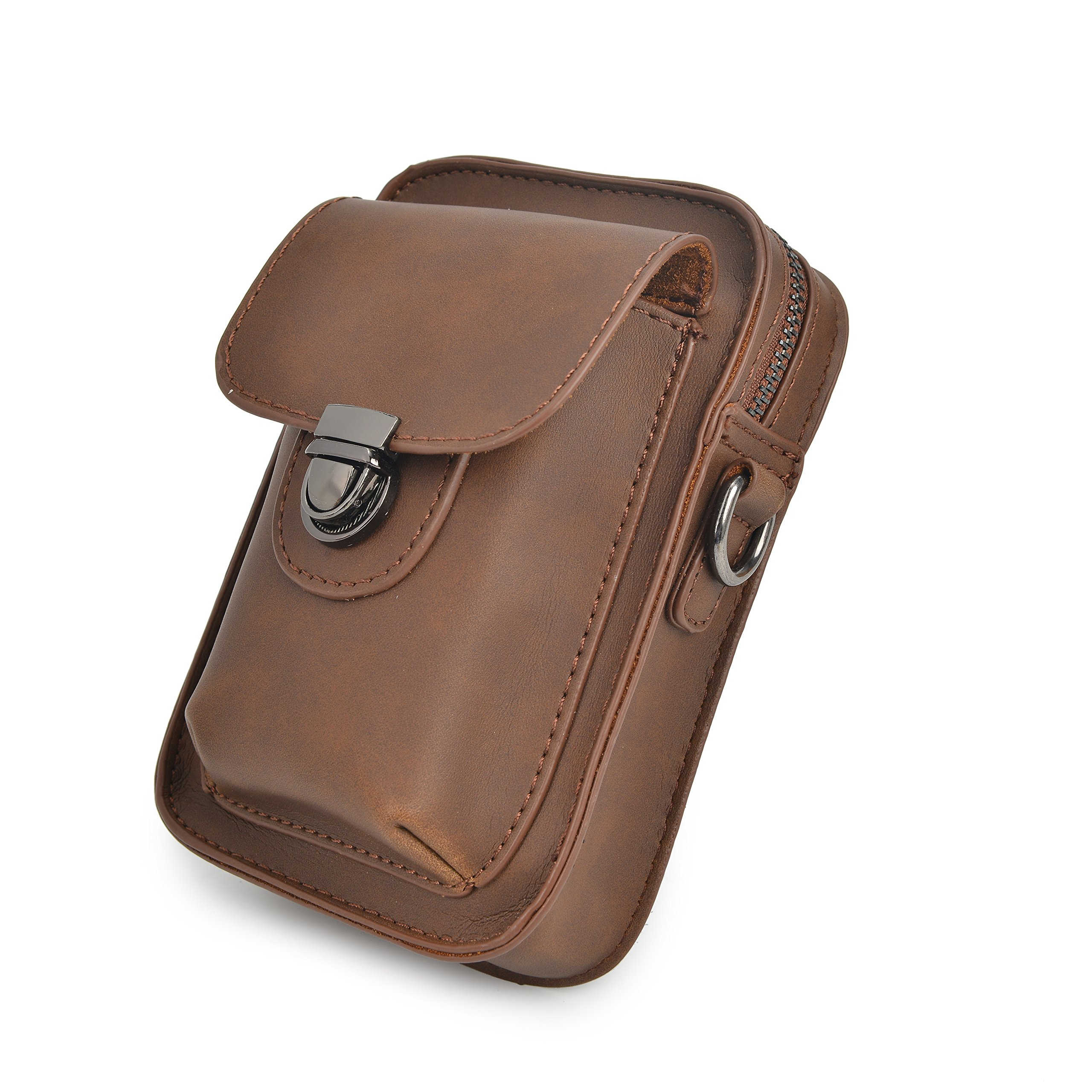 Mens PU Leather Waist Bag Messenger Shoulder Satchel Small Hook Waist Belt Bag Cigarette Phone Case Pouch
