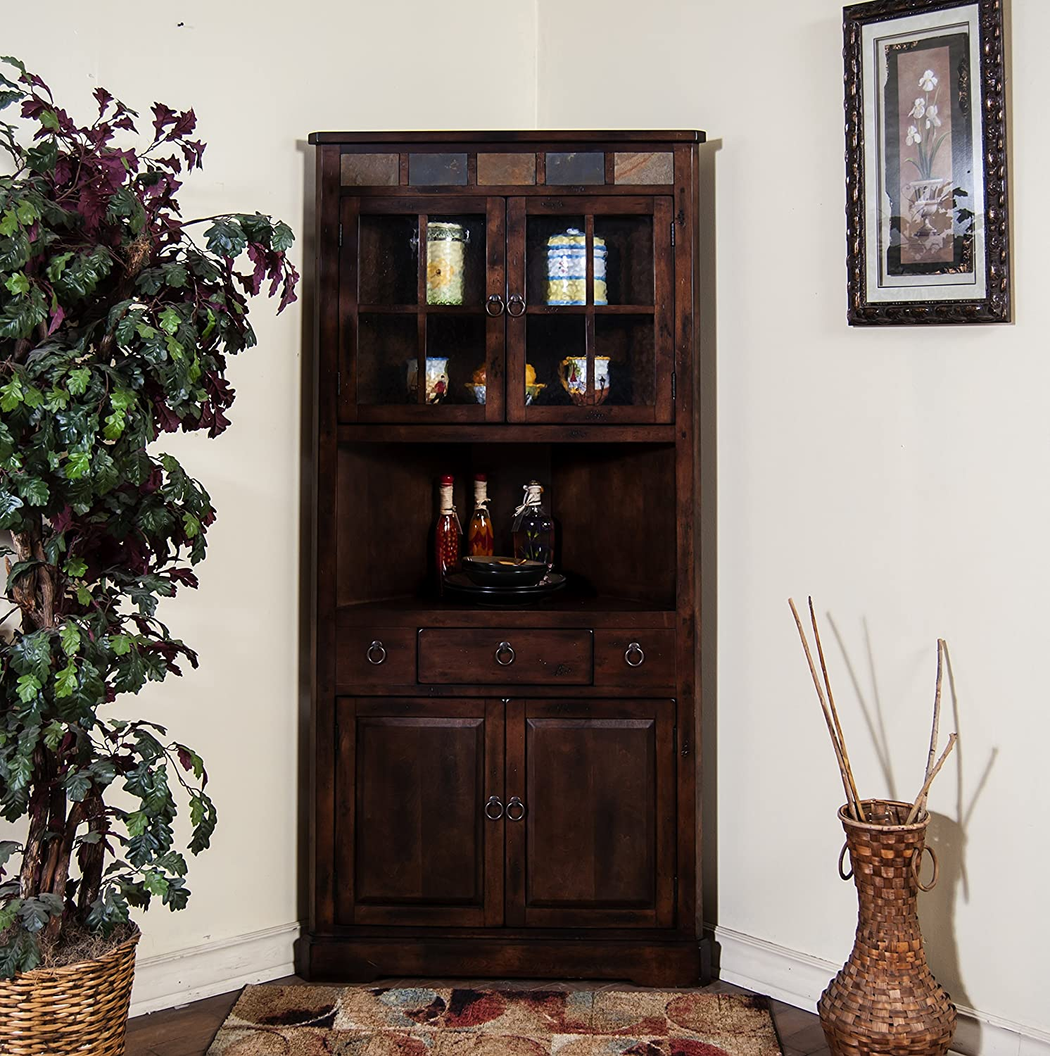 Perfect Amazon.com: Sunny Designs Santa Fe Corner China Cabinet in Dark  LS33