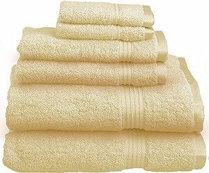 SUPERIOR Luxury Cotton Bath Towel Set - 6-Piece Towel Set, 600 GSM, Long-Staple Combed Cotton Towels, Canary