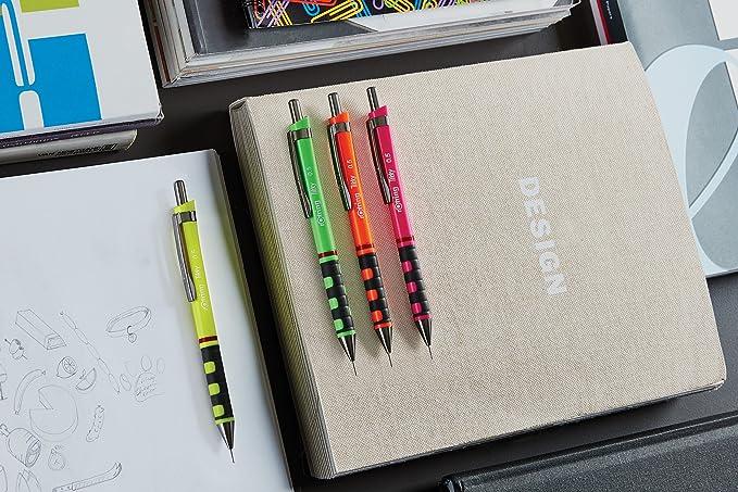 Rotring Tikky portaminas, HB, 0,5 mm, Color Verde fluorescente: Amazon.es: Oficina y papelería
