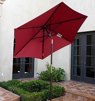 7ft Wooden Market Umbrella With Tilt Mechanism   Brick Red