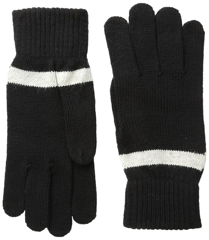 Ben Sherman Men's Stripe Knit Gloves Black One Size Ben Sherman Headwear BS4754