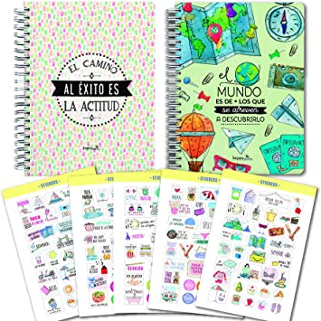 Pack 2 libretas A5 tapa dura + REGALO 5 hojas stikers: Amazon.es ...