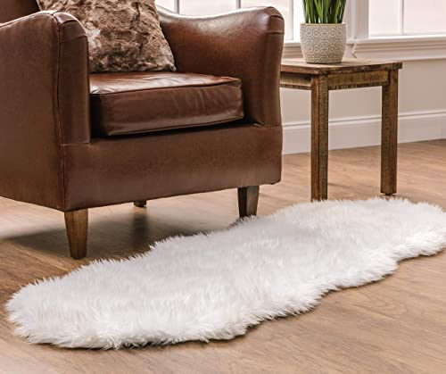 Chanasya Faux Fur Fake Sheepskin White Cover Rug / Solid Shaggy Area Rug