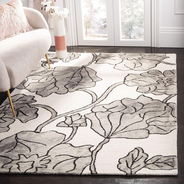 Amazon Com Safavieh Dip Dye Collection Ddy683c Handmade Floral Watercolor Premium Wool Area Rug 8 X 10 Ivory Light Grey Furniture Decor