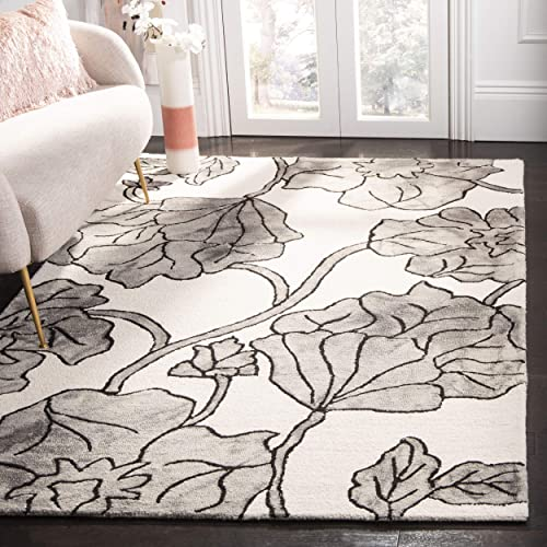 Safavieh Dip Dye Collection DDY683C Handmade Modern Floral Watercolor Ivory and Light Grey Wool Area Rug 5 x 8