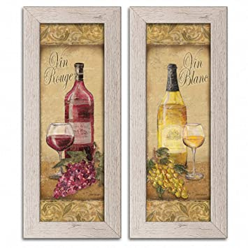 Gango Home Decor 2 Vintage Tuscan White And Red Wine Bottle And Grape Set Two Distressed Framed 6x18in Prints Ready To Hang
