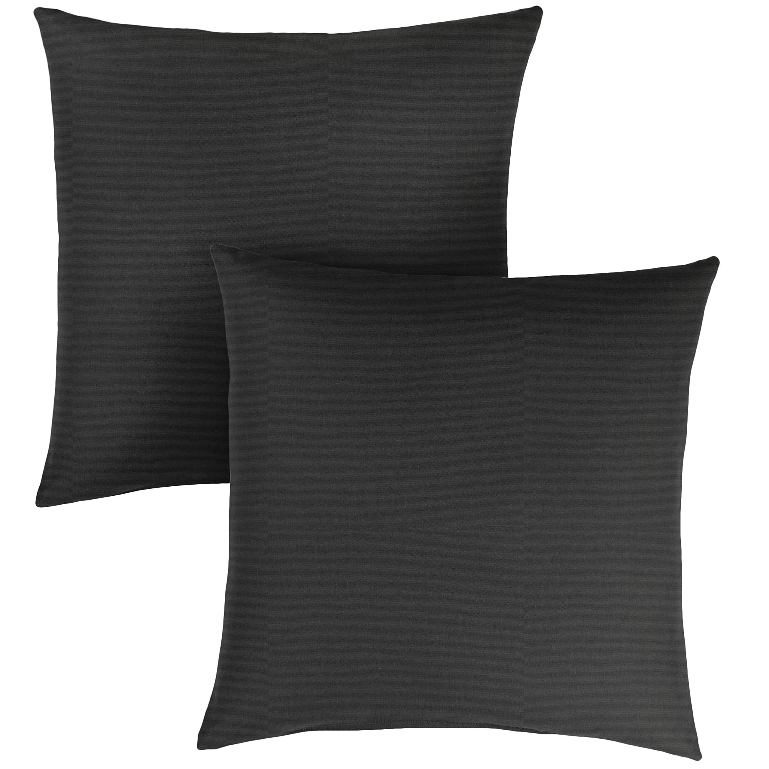 1101Design Sunbrella Canvas Black Knife Edge Decorative Indoor/Outdoor Square Throw Pillows, Perfect for Patio Décor, (Canvas Black 20'') - Set of 2