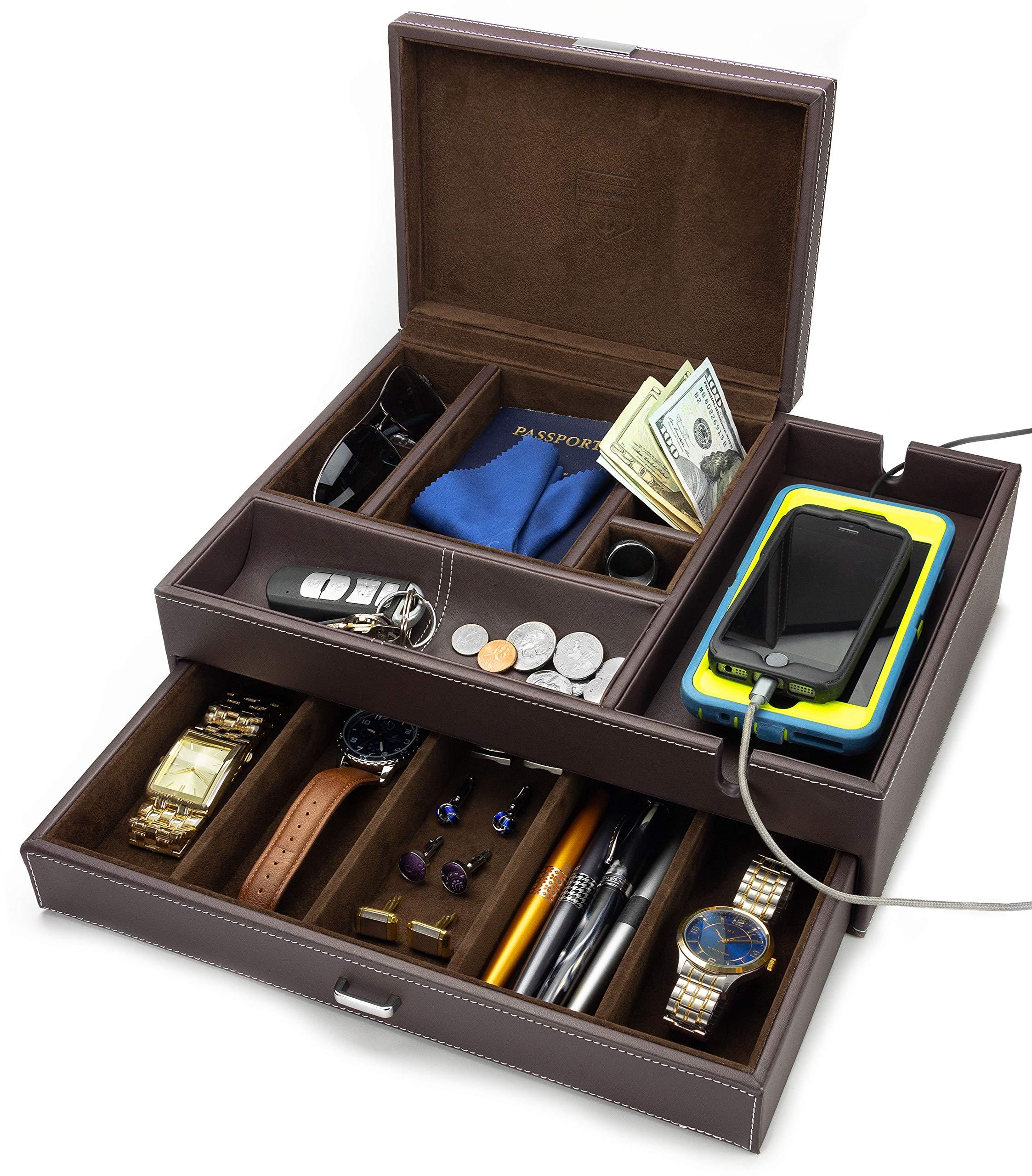HOUNDSBAY Admiral Big Dresser Valet Box & Mens Jewelry Box Organizer with Large Smartphone Charging Station (Dark Brown) by HOUNDSBAY