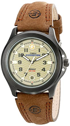 87a424a3b Timex Men's T47012 Expedition Metal Field Brown Leather Strap Watch, Brown /Black/Olive