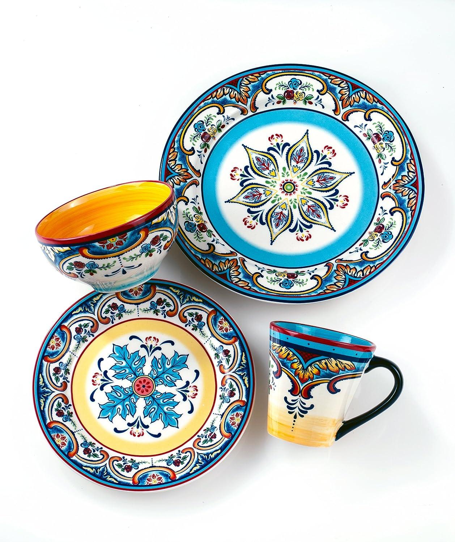 Amazon.com | Euro Ceramica Zanzibar Collection Vibrant 16 Piece ...