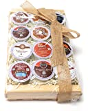 K-Cup Coffee Gift Basket- K-Cup Sampler Pack In Natural Wood Crate-12 K-Cups