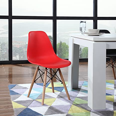 Amazon.com: Moderno juego de 2 silla estilo Eames patas de ...