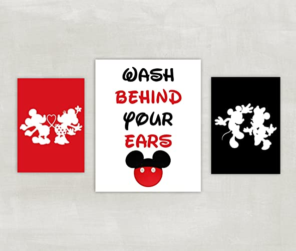 Minnie and Mickey Mouse Bathroom Prints - Silhouette - Wash Behind Your Ears Set of 3