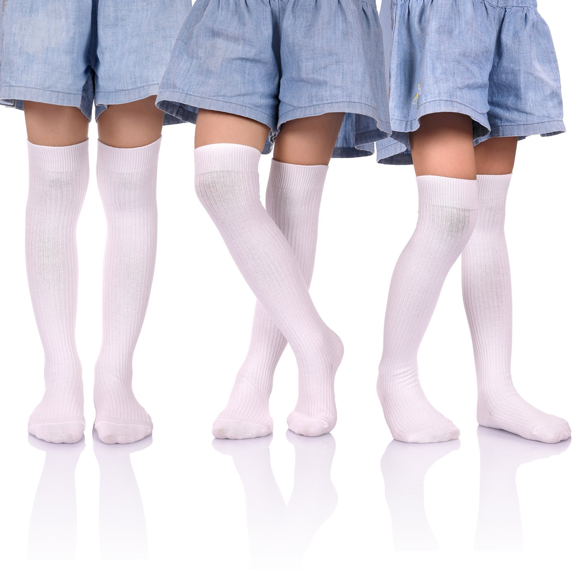 HERHILLY 3 Pack School Uniform Socks - Classic Stripe Cotton Over Knee-high Socks for Big Girls 3-12 Year old (9-12 Year Old, 3 Pack White) by HERHILLY (Image #1)