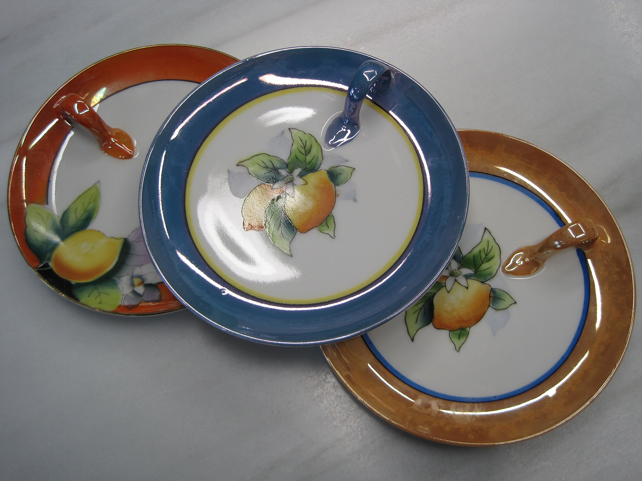 Noritake Porcelain Antique Cocktail Plates, Set of 3, 1920's, 5 1/2 Inches