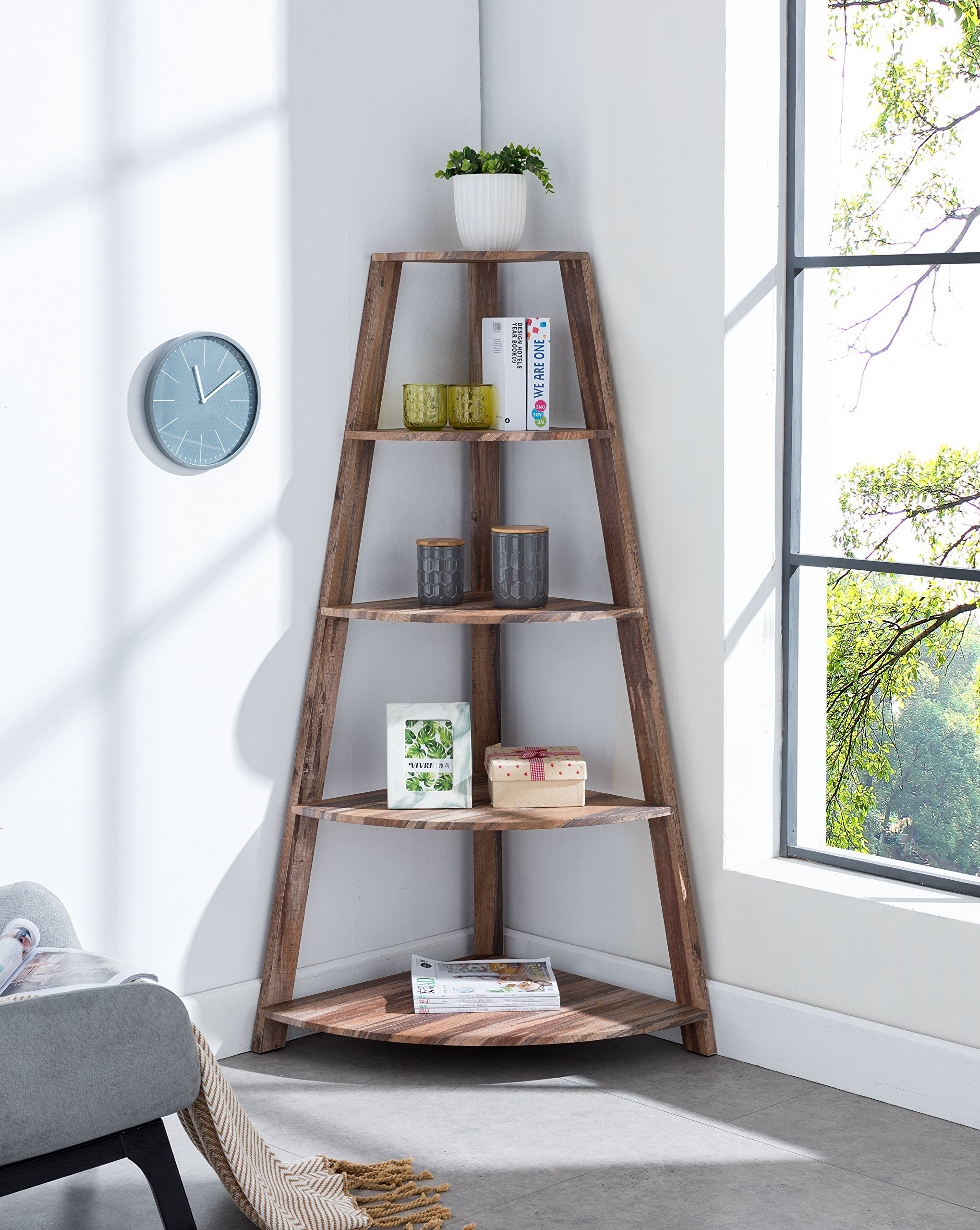 None Weathered Oak Finish Wood Wall Corner 5-Tier Bookshelf Bookcase Accent Etagere