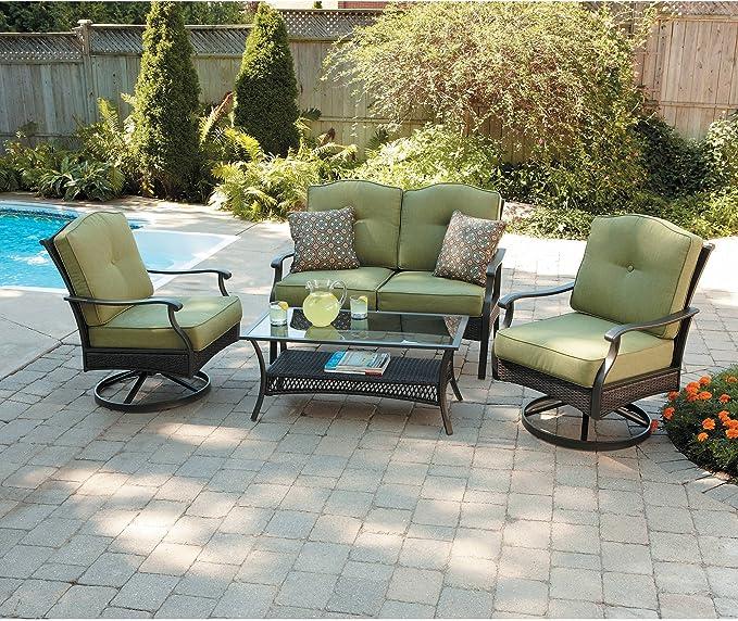 Amazon Com Better Homes And Gardens Providence 4 Piece Patio Conversation Set Green Seats 4 Garden Outdoor