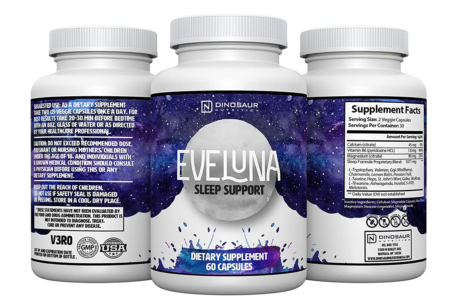 Eveluna - Natural Sleep Aid Supplement with Melatonin, Valerian, Tryptophan, 5-HTP and More -...