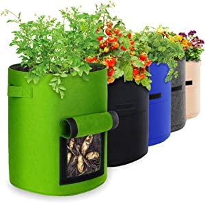 10 Gallon 5 Pack Potato Grow Bags, IPOW Plant Grow Bags Garden Container Heavy Duty Aeration Fabric Pots Thickened Nonwoven Fabric Grow Bags with Flap Handles for Veggies Flower Planter