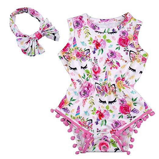 539229195 Ezire Baby Girls Romper, Apparel Baby Sleeveless Romper Outfits Set, Summer Floral  Baby Tassel