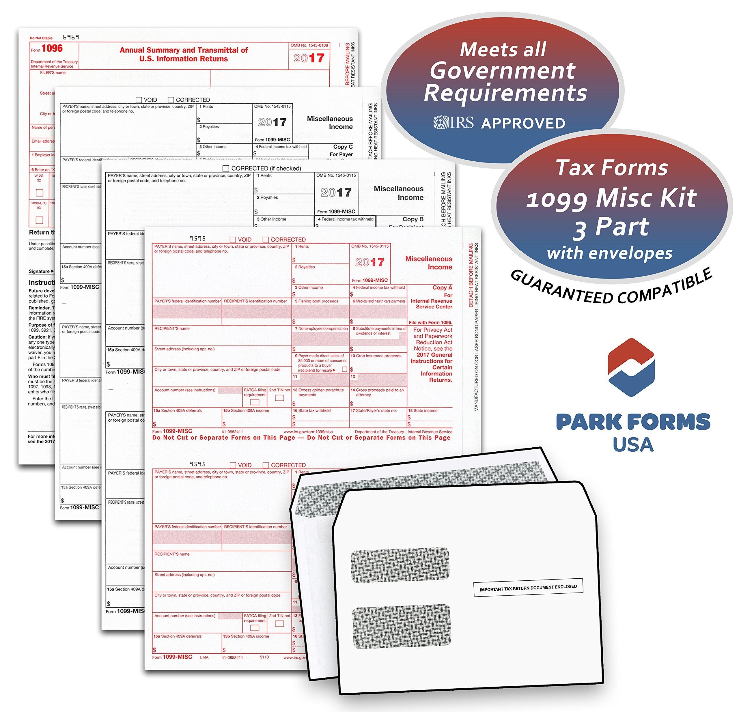 2018 Laser Tax Forms - 1099-MISC Income 3-Part Set & Envelope Kit for 50 Individuals - Park Forms