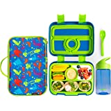 Meillen Kids Bento Lunch Box, Insulated Cooler Bag & Water Bottle, Leak-Proof 4-Compartment Snack Box, Reusable Soft…