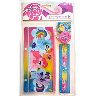 My Little Pony 4 Piece Stationery Set - 1 Pencil Pouch 1 six inch ruler 1 Pencil Sharpener 1 Eraser: Toys & Games