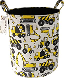 FANKANG Storage Baskets,Collapsible & Convenient Nursery Hamper/Laundry Bin/Toy Collection Organizer for Kid's Room (Engineering Car)