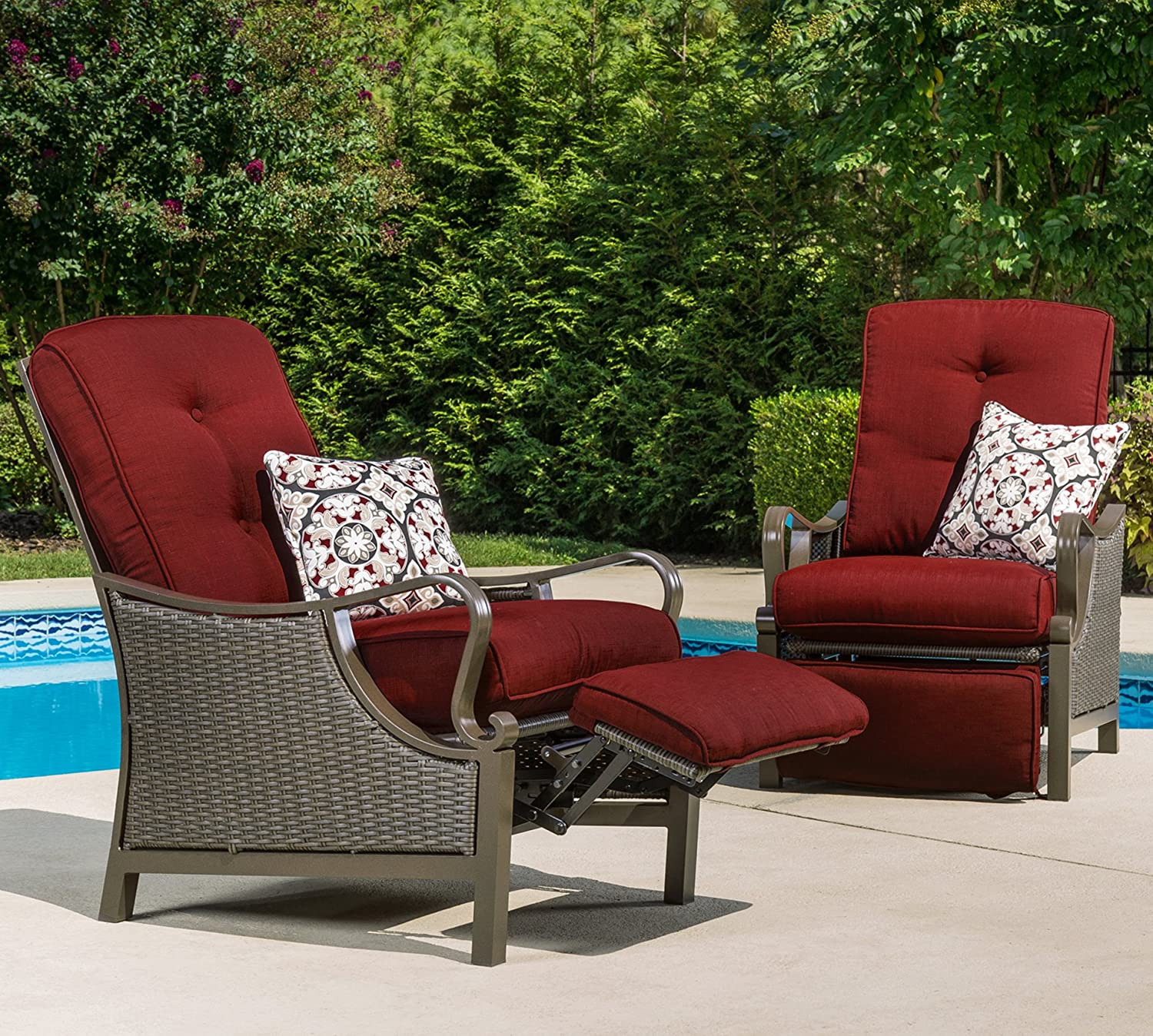 Hanover Outdoor Ventura Outdoor Luxury Recliner Crimson Red