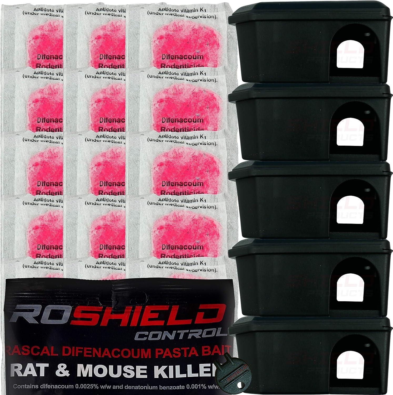 Cajas de cebo y alimento para control de ratones, seguros para niños y mascotas, 5 cajas y 20 bolsitas