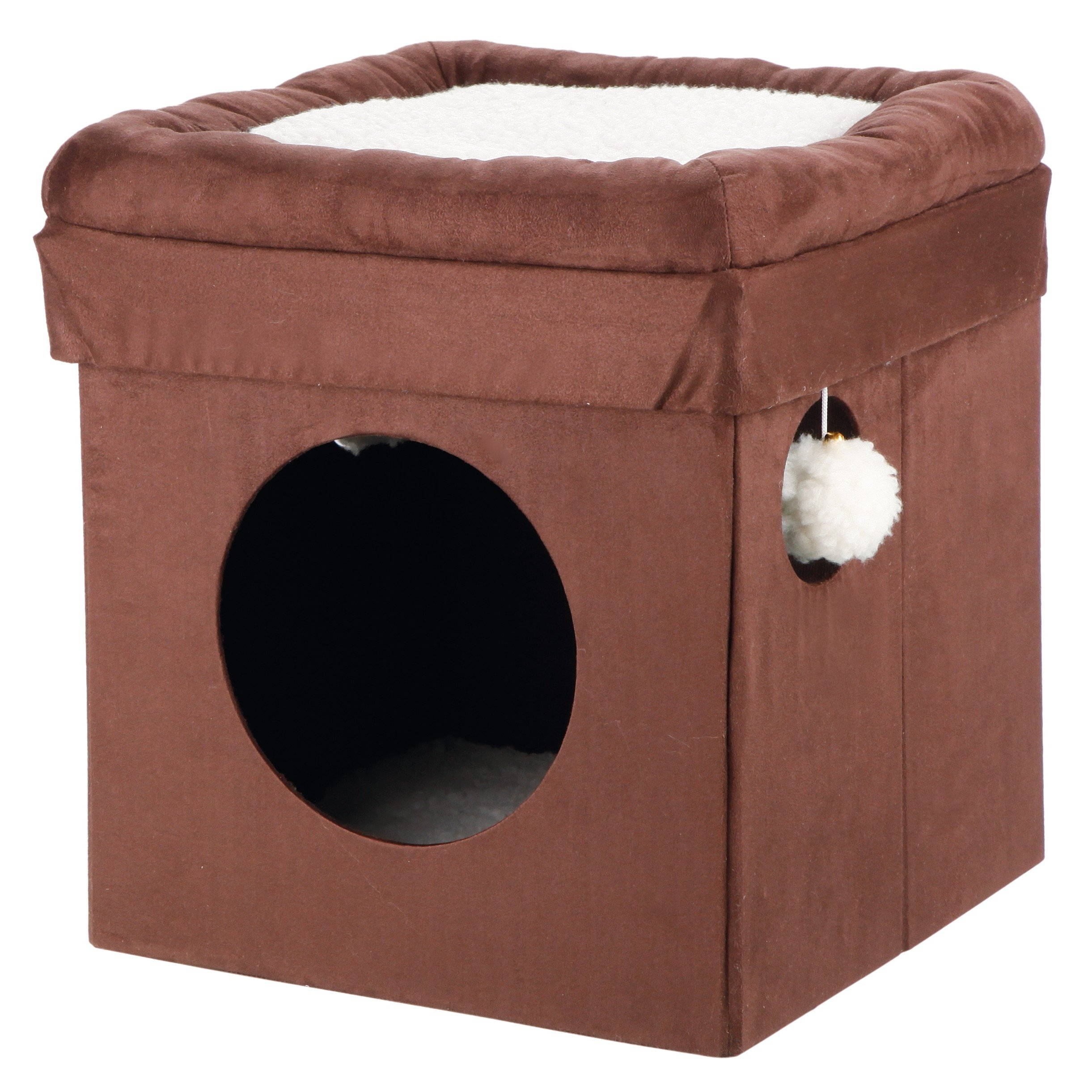1 Piece Beige 16.5 Inches High Scratcher Fold Store Cat Condo, Brown Pet Hiding Cube Tree Bed Kitty Furniture Tunnel House, Collapsible Design Round Opening Dangling Pom-pom Toy Sisal Rope Polyester