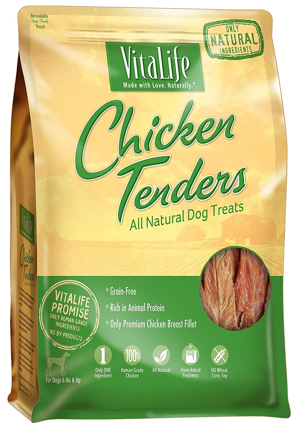 VitaLife Jerky Dog Treats - All Natural, Chicken Tenders, 800 g Normerica AKR-VITA-6X800G-CHICKTEND-PUR