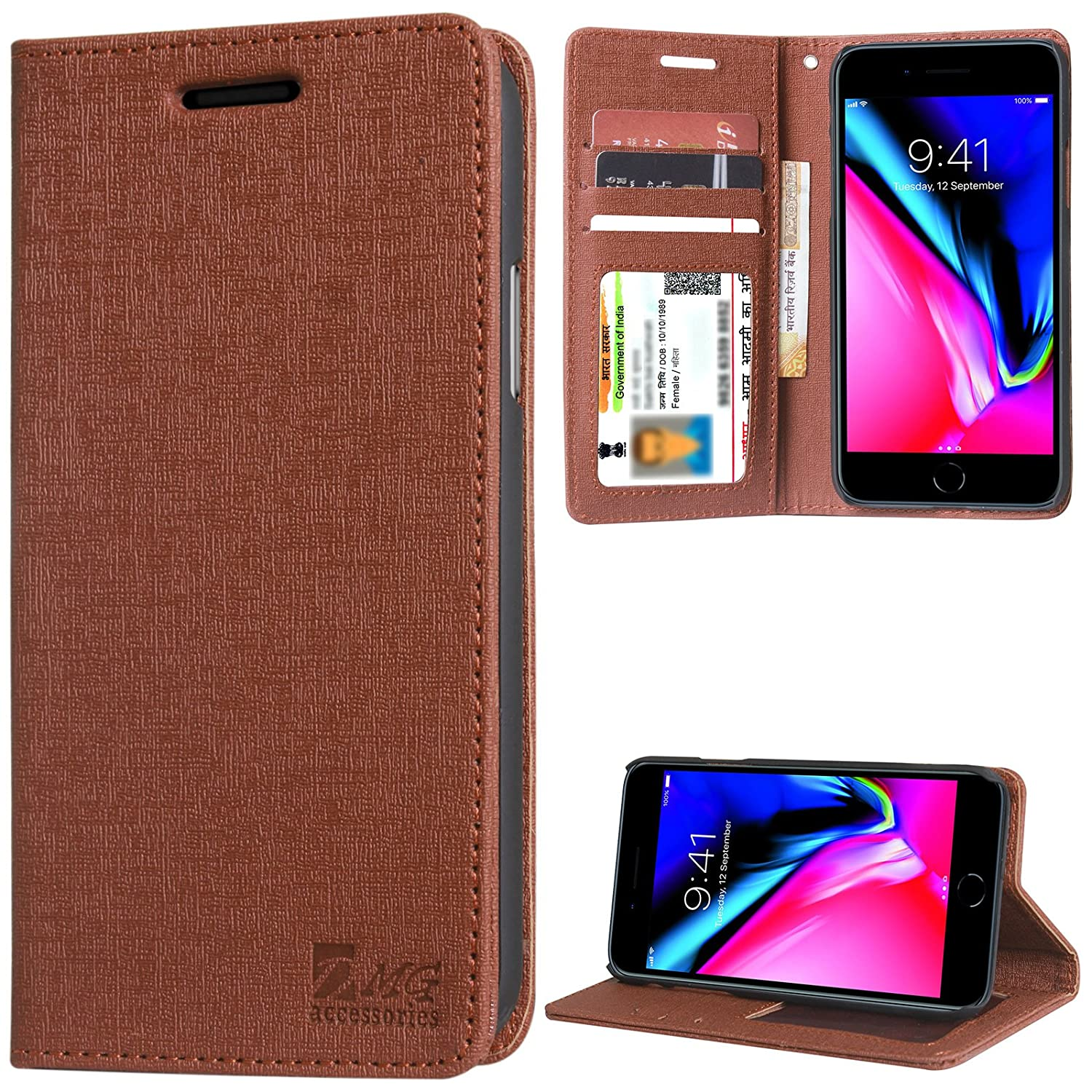 timeless design cac45 5b93c DMG Leather Flip Cover for iPhone 7 Plus, Premium Wallet Flip Cover Stand  Case for Apple iPhone 7 Plus (Texture ID Brown)