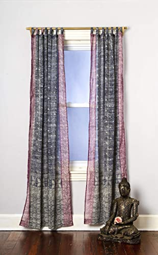 Grey Plum Curtain Boho Window Treatment Light Sari 108 96 inch for Bedroom Living room Dining room Kids Yoga Studio Canopy Bed Tent Hippie Gypsy Chic Bright Colorful HomeDecor W Gift bag