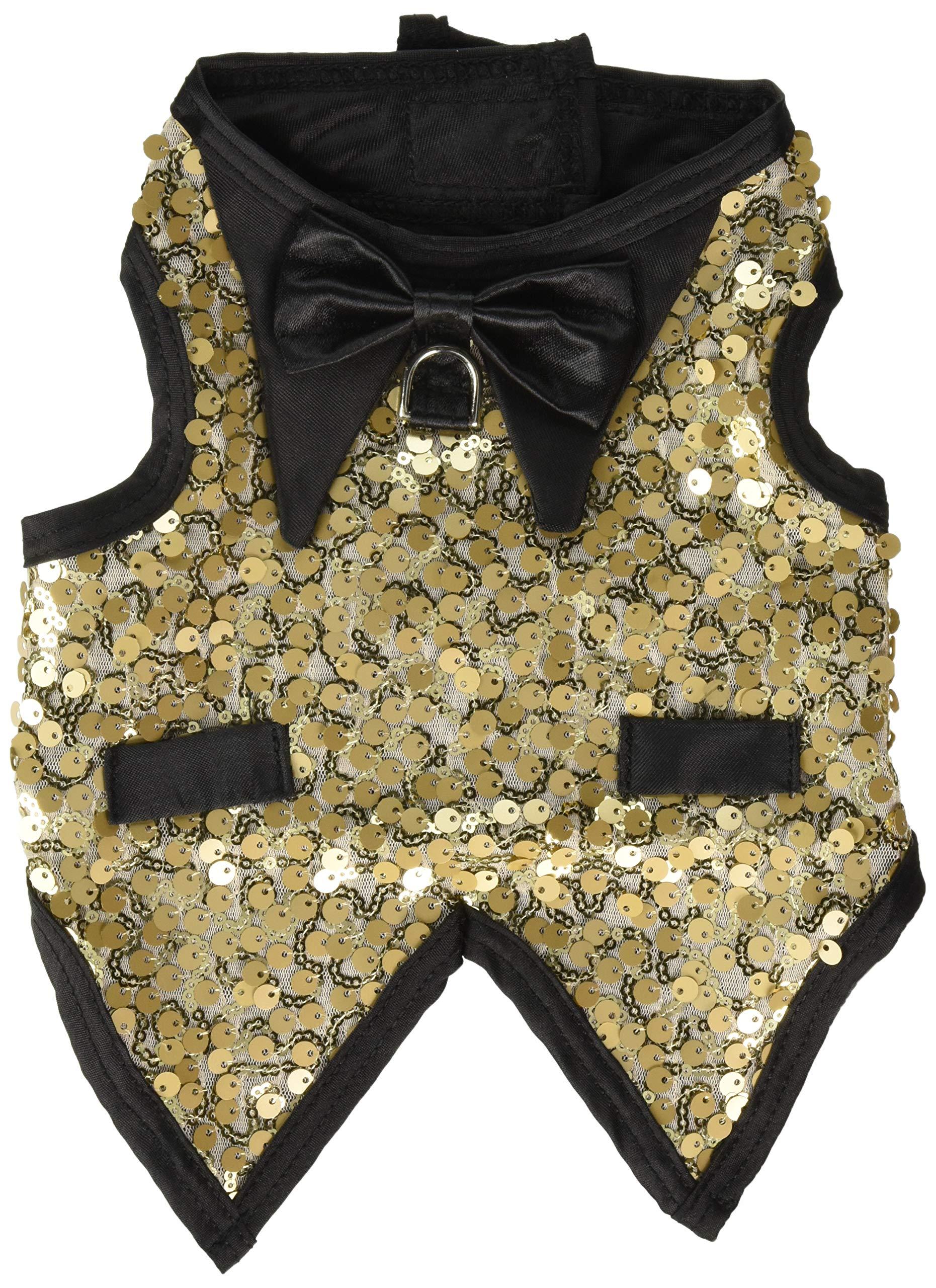 Gentleman's Dog Tuxedo, Lt. Gold Sequins (S)