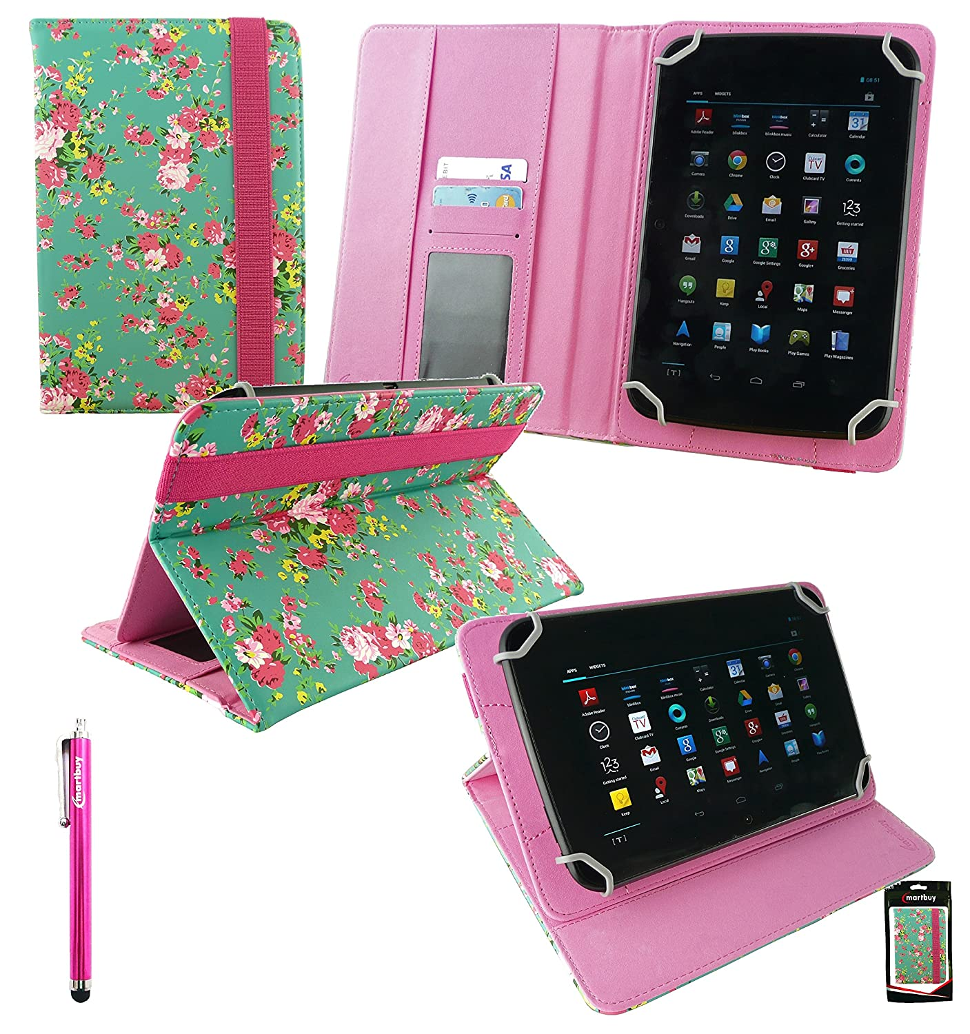 Emartbuy® Bq Edison 3 Mini 8 Inch Tablet Universal Range Verde Rose Garden PU Leather Ángulo Múltiples Executive Folio Funda Carcasa Wallet Case Cover ...
