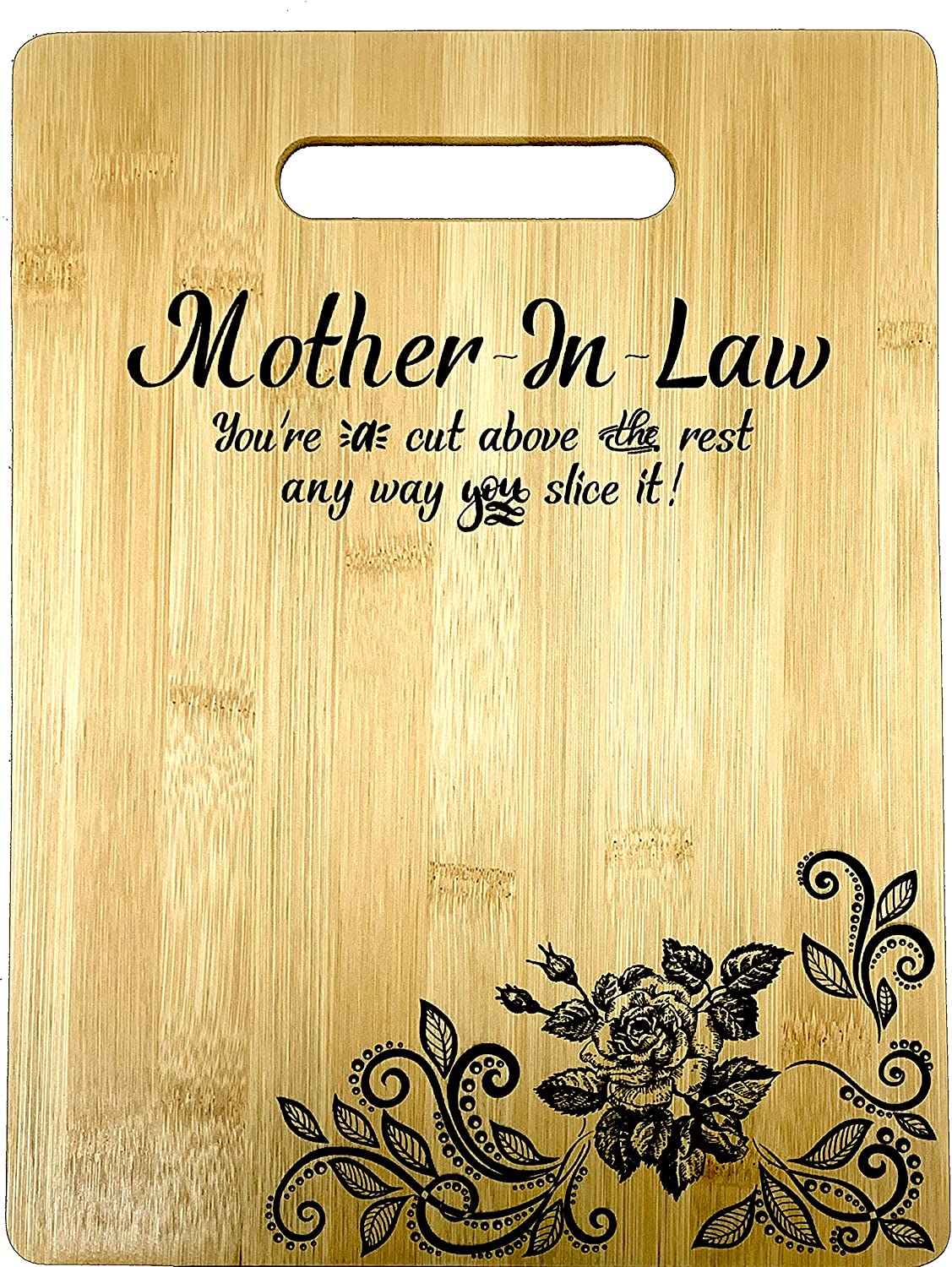 "Gift for Mother In Law Engraved Bamboo Cutting board 9"" x 12"