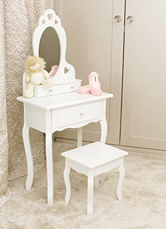 official photos 155a1 66bfe Girls Dressing Table With Stool and Mirror | Children's Vanity Table Ideal  for Girls | Children's White Wooden Makeup Dressing Table With 3 Drawers,  ...
