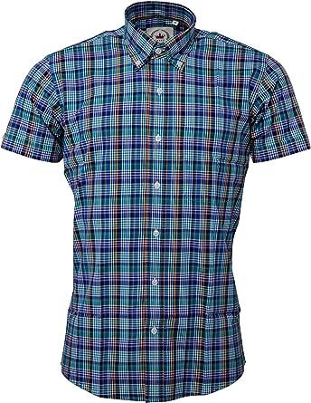 Relco Men/'s Red Tartan Checked Short Sleeved Button Down Collar Shirt Skins Mod